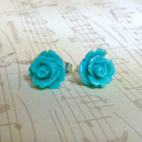 Turquoise Blue Flower Post Earrings