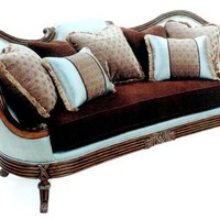 Home Living Style Living Room Furniture - Italian Pale Blue Sofa with Dark Brown Seat Cushion