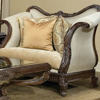 Home Living Style Living Room Furniture - Dark Cherry Chair and a Half with Ivory Upholstery