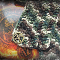 The Hunger Games Crochet Scarf-Camouflage-Free Shipping from A Simply Enchanted Life