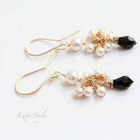 Cluster Earrings, Gold teardrop Earrings, Beaded Earrings, Black Swarovski Crystal &amp; Pearl drops Luxe Style