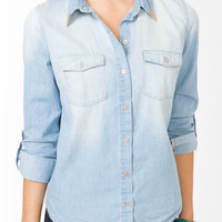 Metal Tip Collar Chambray Shirt