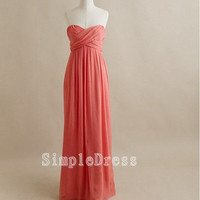 Custom Beach Sweetheart Sleeveless Floor-length Chiffon Cheap Long Bridesmaid/Evening/Party/Homecoming/Prom/Cocktail Dresses 2013