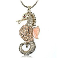 Topaz Vintage Inspired Crystal Rhinestone Sea Creature Seahorse Costume Necklace
