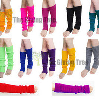 Plain Knitted Leg Warmers Stocking Socks Finger less Long Gloves Neon Color