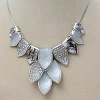 Korean Fashion Exaggerate Petal Shape Necklace Silver : Wholesaleclothing4u.com