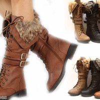 Women&#x27;s Winter Low Heel Zipper Buckle Lace Up Military Knee High Boot Shoes NEW