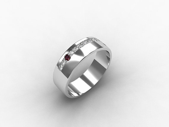 Ruby Ring Palladium Men 39 S Wedding Band From TorkkeliJewellery