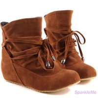 Lace Up Womens New Shoes Ladies Flat Faux Suede Ankle Boots 34-43 US sz 10