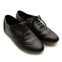 Ollio Women's Classic Dress Oxfords Low Flats Heels Lace Up Black Shoes