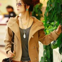 Wholesale Graceful Double-breasted Hooded Short Coat Camel