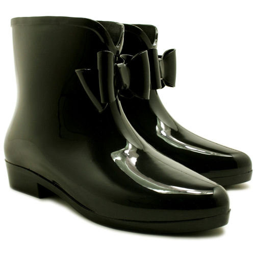 Ankle Festival Wellies Wellington Bow Rain Boots Black Sz 3