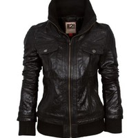 IL2L Women's Leather Bomber Jacket with a Deep Knitted Collar: Amazon.co.uk: Clothing