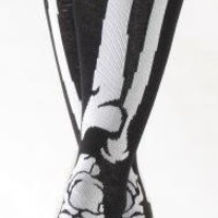 ROCKWORLDEAST - Socks, Knee High White Skeleton Socks