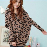 Fashion Women&#x27;s Batwing Sleeve Tops Shirts Leopard Print Blouse Mini Dress