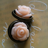 Antique rose post studs peach pink by Victorianstudio on Etsy