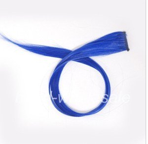 Long Solid Blue Clip On In Hair Extension Hightlight