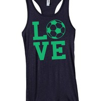Love Soccer Racerback Juniors Tank-Small-Black