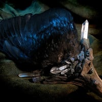 The Raven and the Sea  Smudge Fan with Labradorite by nethersphere
