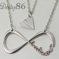 One Direction,paper airplane, Harry Styles Inspired Unisex Paper Airplane &One directioner Charm Necklace