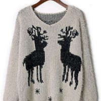 Fluffy Long Sleeve Elk Knit Sweater