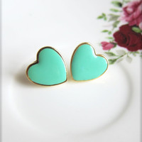 Mint Green Heart Earrings Mint Green Heart Studs Mint Green Heart Post Earrings Jade Mint Aqua Green - Darlene