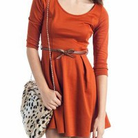 belted scoop neck dress &amp;#36;31.10 in RUST - Casual | GoJane.com