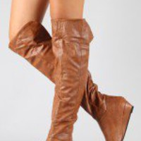 Iona-11 Cuff Slouchy Thigh High Boot