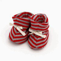 Organic Baby Booties Red &amp; Gray Stripes