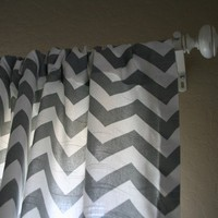 Custom Chevron Full Length Curtain Panels 84x50 by tuftlovefabric