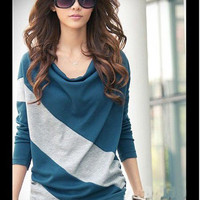 Elegant and Comfortable Diagonal Stripes Long Sleeves T-Shirt For Women China Wholesale - Sammydress.com