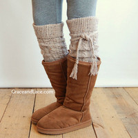 Alpine Thigh High Slouch Sock - Oatmeal Tweed thick cable knit socks w/ fold over cuff and tassel tie - boot sock leg warmer (item no. 6-17)