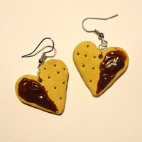 Heart Cookie EARRINGS  with chocolate coating by FrozenNote