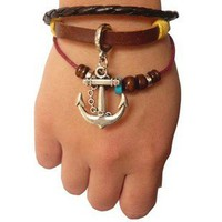Retro Anchor Pendant Three Leather Bracelet