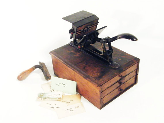 Victorian Printing Press 1880s small wooden dovetail by ohiopicker