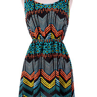 Teal Print Dress