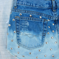 OOAK Custom dipped, studded tumblr inspired hipster shorts