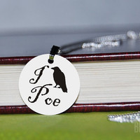 i crow poe charm necklace by BookFiend on Etsy