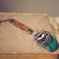 jaidyn a bohemian leather and feather by RootsandFeathers on Etsy