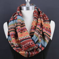 Indian Pattern... Infinity scarf...Unique