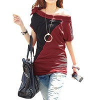 Allegra K Woman Asymmetric Neck Off Shoulder Dark Red Black Tunic Shirt S