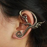 Gothic Bronze Dragon Wyvern Ear Cuff Earring