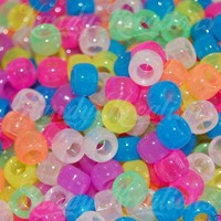 Free USA S&H 500 glow in the dark pony beads RAVE KANDi Purple blue pink green yellow orange night glow white
