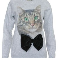New Look Mobile | Alice Takes a Trip Grey Cat Bow Sweater