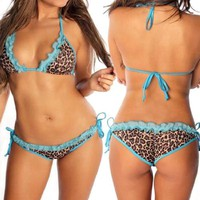 Bloom's Outlet Womens Ruffle Lace Top & Scrunch Bottom Bikini Swimwear BN37LPB M
