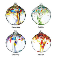RECYCLED GLASS TREE GLOBES - RENEWAL | Recycled Glass, Stephen Kitras, Ornament, Color, Passion, Rebirth, Happiness, Creativity | UncommonGoods