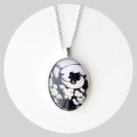 Vintage Floral Photo Pendant Black and White by TheLightFantastic