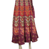 Cotton Wrap Skirt Plum Red Barmari Print Hippie Indie Wraparound Skirt