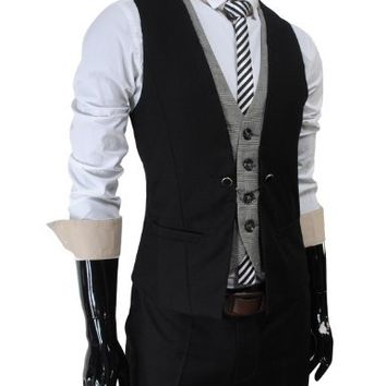 (VE34) TheLees Mens premium layered style slim vest waist coat