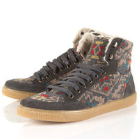 TEEPEE Grey Fur-lined Hi-Tops - Hi Tops &amp; Trainers - Flats  - Shoes